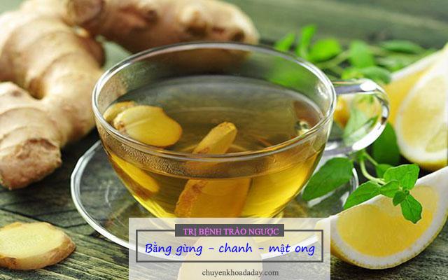 Dùng trà gừng kết hợp với chanh và mật ong để chữa đau dạ dày