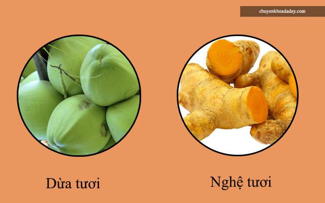 nghệ và dừa tươi chữa đau dạ dày