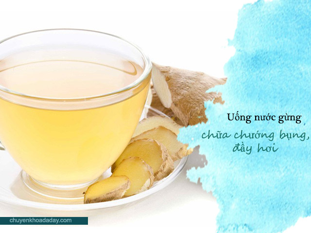 Uống nước gừng ấm giúp chữa chứng chướng bụng, đầy hơi, khó tiêu hiệu quả