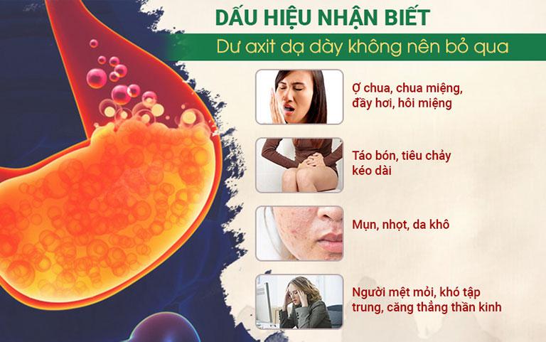 Một số biểu hiện của dư thừa axit dạ dày