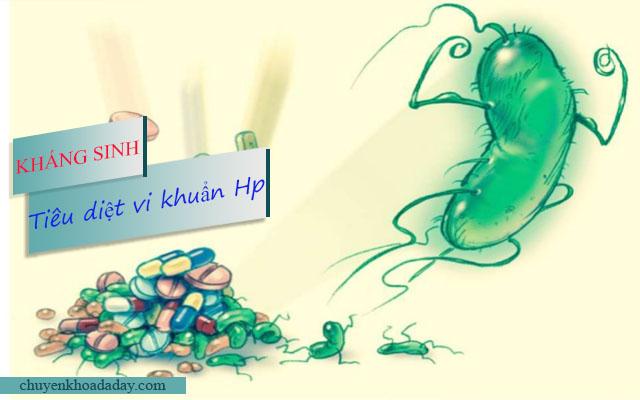 Dùng kháng sinh tiêu diệt vị khuẩn Hp để mang lại hiệu quả nhanh chóng