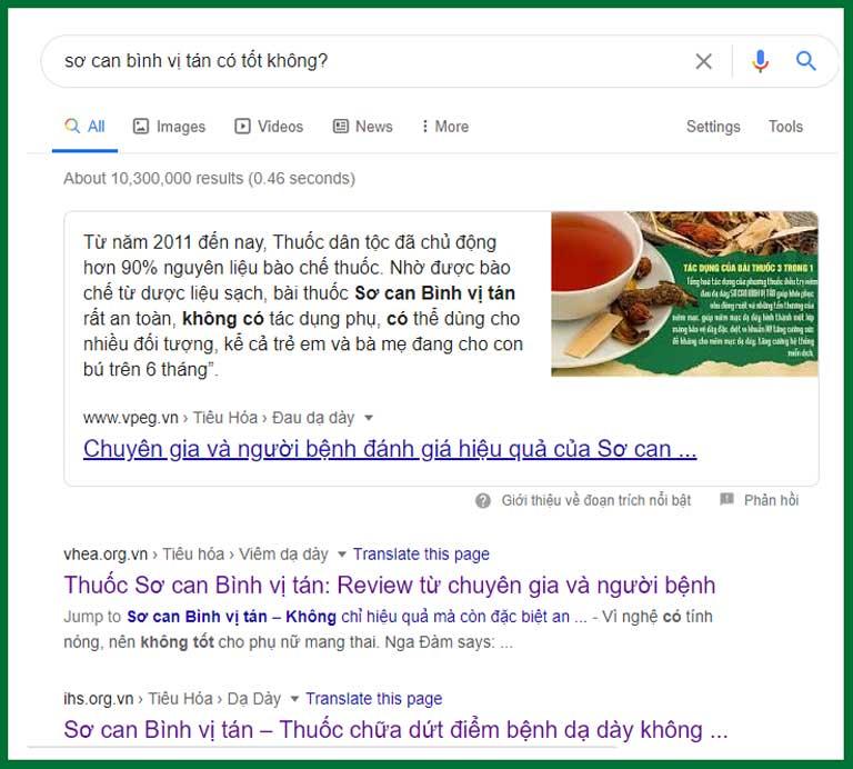 """Kết quả khi tìm kiếm """"Sơ can Bình vị tán có tốt không"""" trên google"""